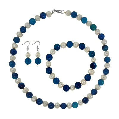 Cultured Freshwater Pearl And 10mm Blue Agate Necklace Earrings Bracelet Set