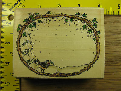HOLLY POND HILL SNOWY CHICKADEE FRAME UPTOWN WINTER CHRISTMAS Rubber Stamp #1988