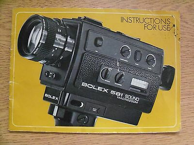 Instructions cine movie camera BOLEX 581 SOUND microzoom