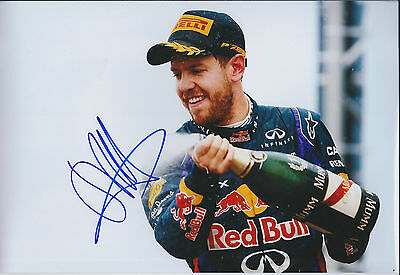 Sebastian VETTEL SIGNED Champagne Spray 12x8 Photo Red Bull AFTAL Autograph COA