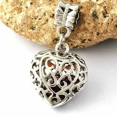Attractive Womens White Gold Filled/Silver RED CZ in Heart Pendant  A642