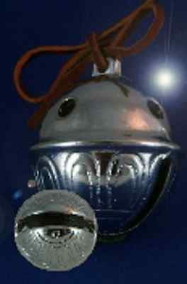 Polar Express Reindeer Bell #8 Chrome w Brown Leather Tie