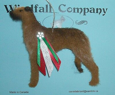 Red Scottish Deerhound Dog Plush Christmas Canine Ornament by WC