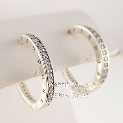2ffb5781f Authentic PANDORA SIGNATURE Silver HOOPS Earrings 290558CZ NEW with BOX!