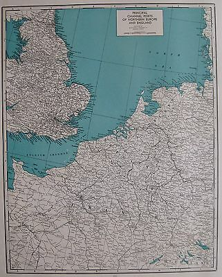 1941 Antique ENGLISH CHANNEL Map Rare Poster Print Size Ports of England France