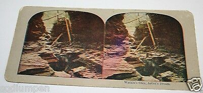 ORIGINAL Antique 1900`s Watkin's Glenn Park N.Y. Artist Dream Stereoview Photo