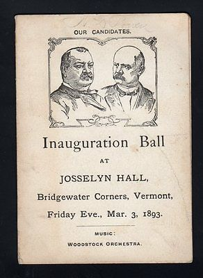 Cleveland Stevenson Inauguration Ball Program