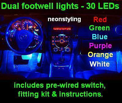 Dual LED Interior Footwell neon Lights Honda CR-Z 1.5 IMA GT I-VTEC sport