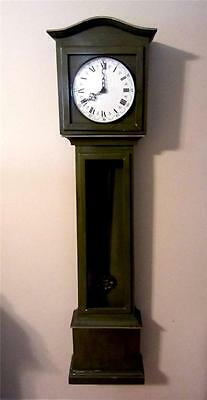 "54"" Grandfather / Mother Roman Numeral Green Wall Hanging Clock 1969 Alexanders"