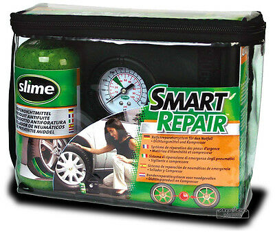 Slime Reifen Pannenset mit Kompressor + Dichtmittel Tire Repair Kit Smart Repair