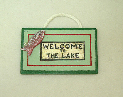 Dollhouse Rustic Wood Sign - Welcome To The Lake for Doll House Beach Scene
