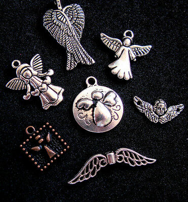 7 Angel Fairy Heaven Pendant Jewelry Silver COPPER Christian Charms LOT gift set