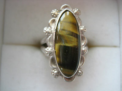ESTATE BOLD STERLING SILVER TIGER EYE AGATE RING SIZE 8 HAND MADE 6.2 GR ARTISAN