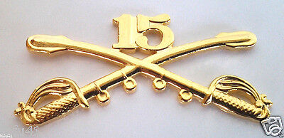 Army 15th Fifteenth Cavalry Crossed Sabres 2 1//4 inch Hat Pin H16194D179
