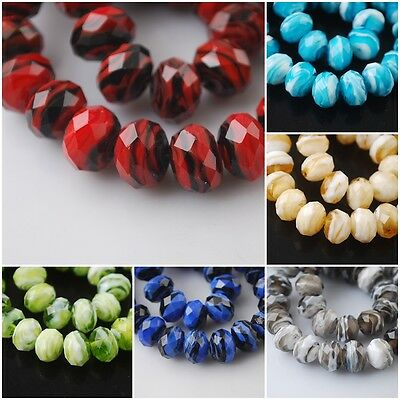 8mm Rondelle Faceted Glass Crystal Stripe Design Lampwork Beads Spacer Charms