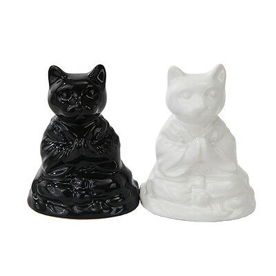 2 Buddha Meditation Black & White Cats Ceramic Salt & Pepper Shakers Set