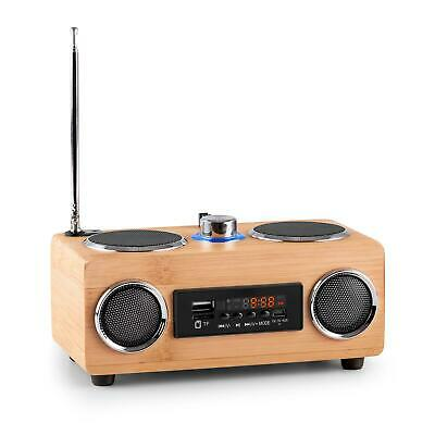Bamboo Ukw Radio Tuner Usb Micro Sd Aux Mp3 Player Lautsprecher Boom Box Tragbar