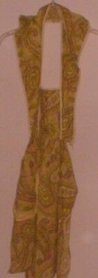 Over Head Full Apron Green Pink Yellow White Floral Paisley Print Back Self Tie