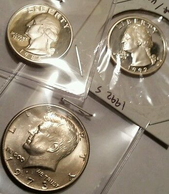 Uncirculated Coin Lot 1973 D Half Dollar , 1985 S Quarter, 1992 S Quarter Proofs
