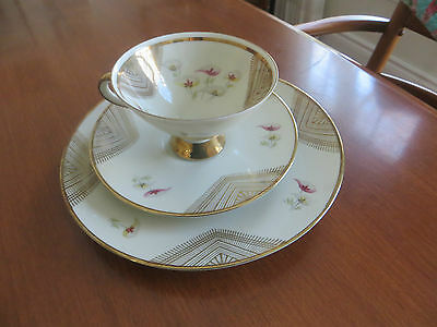 Winterling Bavaria Marktleuthen Teacup Saucer Trio Set Geometry Stripes Flowers