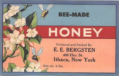 Lot of 3 vintage c1940s Bee-Made HONEY paper labels - E E Bergsten Ithaca NY