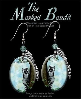 Masked Bandit Raccoon Earrings - Country Wildlife Art - Jewelry Free Ship  #blh*
