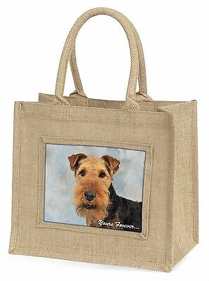 Welsh Terrier 'Yours Forever' Large Natural Jute Shopping Bag Birthd, AD-WT1yBLN