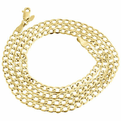 Mens Hollow 10K Yellow Gold 4MM Cuban Curb Link Chain Necklace 16-30 Inches