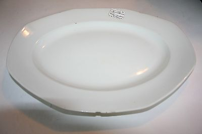 """SA10 Antique W H Grindley White Ironstone Platter 14"""" x 11"""" Excelsior England"""