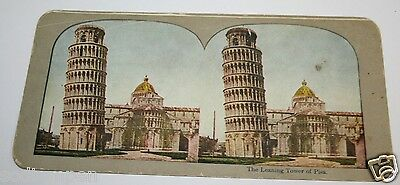 Rare Beautiful ORIGINAL Antique 1900`s Leaning Tower Of Pisa Stereoview Italy