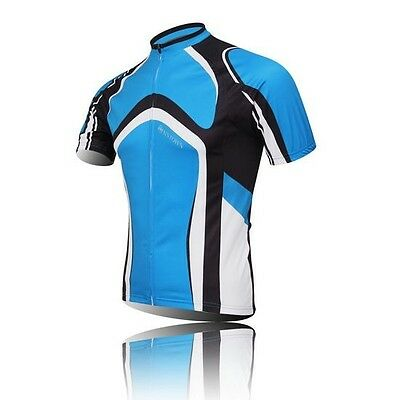 New Blue Cycling Bike Short Sleeve Shirt Clothing Bicycle Sportwear Jersey Top