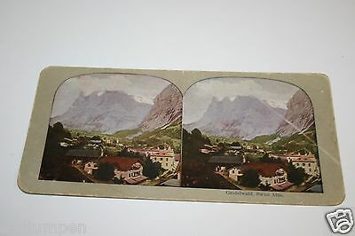 Rare Beautiful ORIGINAL Antique 1900`s View Of Gridelwald Swiss Alps Stereoview
