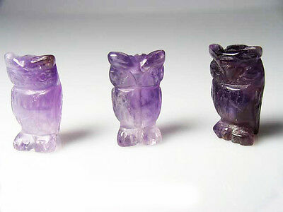 WISDOM! Two Carved AMETHYST OWL Beads 009297AM