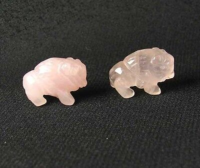 RETURN! Two (2) ROSE QUARTZ Hand Carved BISON / BUFFALO Beads 009277RQ