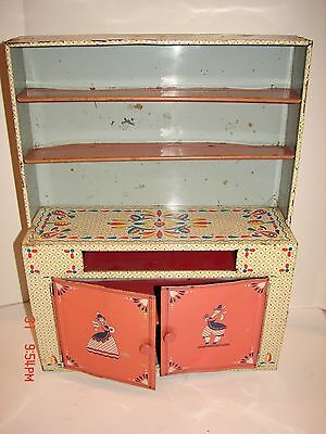 VINTAGE IDEAL TOY CO METAL KITCHEN TOY HUTCH DOLL CABINET PLAY SET GRAPHIC