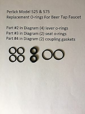 (8) Beer Tap O-rings for Perlick 525 & 575 Series Faucet, Homebrew, Beer O-ring