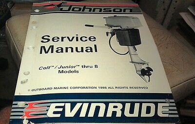 1986 JOHNSON Evinrude  Outboard Factory Service Manual - Colt Junior thru 8hp