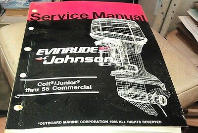 1986 JOHNSON Evinrude  Outboard Factory Service Manual  Colt Junior thru 55 Comm