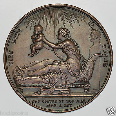 FRANCE, BIRTH OF THE DUKE OF BORDEAUX, 1820 38mm COPPER MEDAL BY GAYRARD GEF