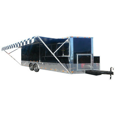 Concession Trailer 8.5'x24' Black - BBQ Food Vending Catering