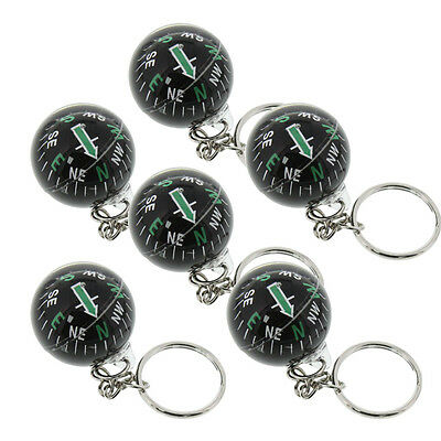 Liquid Filled Ball Compass Keychain Hiking Camping Outdoor Survival - Pack of 6