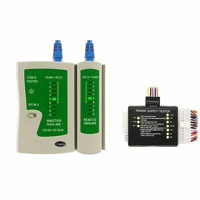 RJ45 RJ11 Cable Tester+20/24 Pin Power Supply Tester For ATX SATA HDD