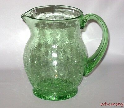 "Crackle Glass Pitcher Lime Green  6.25"" Vintage"