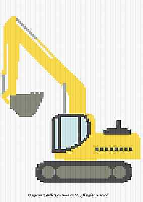 Crochet Patterns - EXCAVATOR CONSTRUCTION VEHICLE Baby Graph Afghan Pattern
