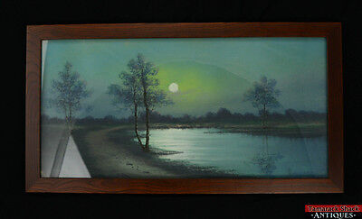 Excellent VTG Original 1930s Pastel Drawing Picture Peace Under the Moon Signed