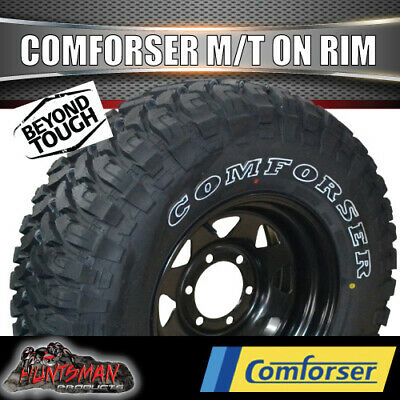 """16"""" black steel wheel fitted with Comforser 285/75R16L/T MUD tyre. 285 75 16 33"""""""