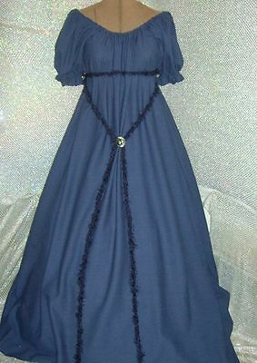 CIVIL WAR SOUTHERN NAVY BLUE CHEMISE GOWN DAY DRESS