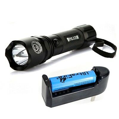 7W 500LM CREE Q5 LED Police Flashlight Torch Lamp Rechargeable 18650 Charger KIT
