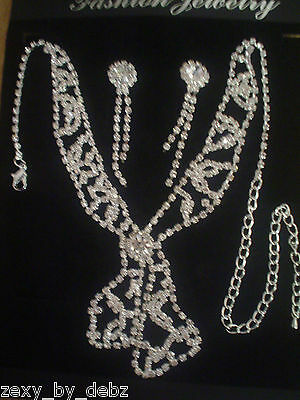 Necklace and Long Drop Earrings Set with Diamante STRIKING! - NEW!