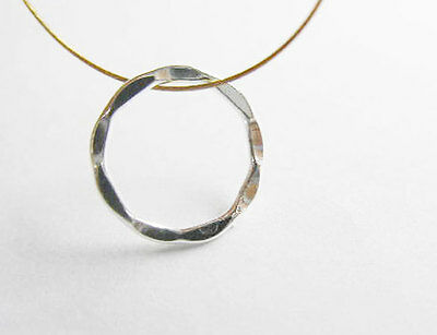 Sterling Silver 10 Hammered Circle Closed Rings 11.5mm.